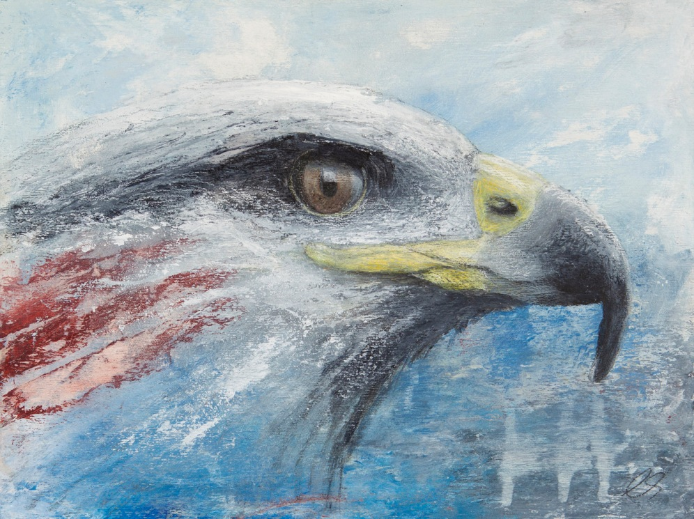 "American Eagle 12"" x 16"" on wood panel"