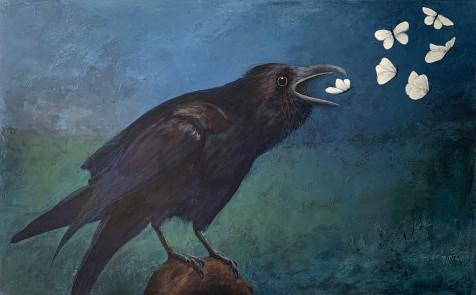 Crow Magic, Acrylic on Canvas, 30x48