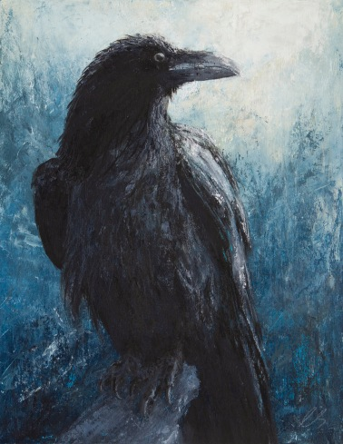 "The Raven at Misty Mountain 14"" x 18"" on wood panel"