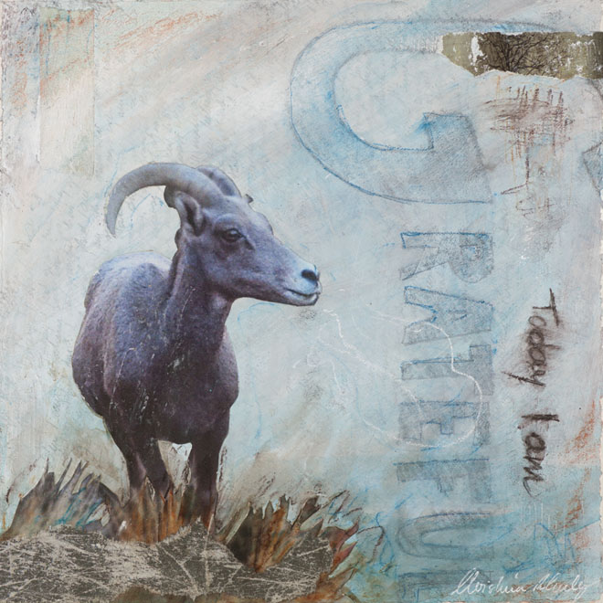 Christina Schulz, artist, mixed media painting: Grateful
