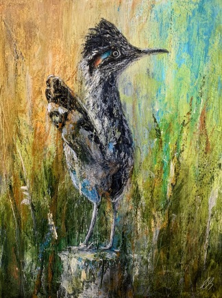 "Roadrunner, 12"" x 16"" mixed media on wood panel"